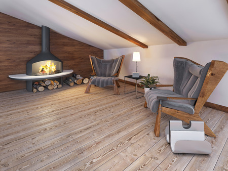 wood floor: Comfortable seating area of the two chairs by the fireplace in the attic in the loft style. 3D render. Stock Photo