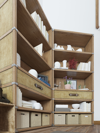 shelving: Big rack in a rustic style with books and decor. Shelving in bedroom loft design with a TV on the wall. 3D render.