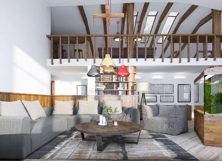 #60565064   Wohnzimmer Mit Einem Aquarium Und Einer Zweiten Ebene Mit Einem  Billardraum Auf Dem Dachboden. 3D übertragen.