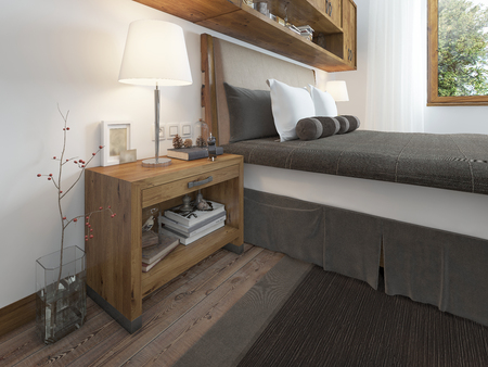 niche: Wooden bedside table with a niche for the decor. Bedside table with lamp and books beside the bed. A bed in a rustic style. 3D render.