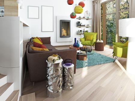 Luxus Modernes Wohnzimmer Im Art Deco Stil In Dunklen Brauntonen