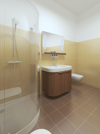 yellow walls: Interior bathroom in Contemporary style. Interior bathroom with brown and yellow tiles on the walls and white ceiling. Furniture made of brown wood. 3D render. Stock Photo