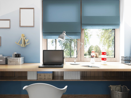 cor: Front view of the desktop to the laptop and nautical décor with views of the large window. 3D render