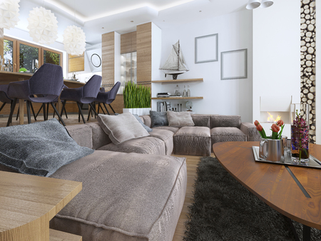 blending: Modern living room in a loft style, blending smoothly into the kitchen dining room. Large corner sofa, shelves with decorations, soft chair with a floor lamp and a big high fireplace with firewood. 3D render