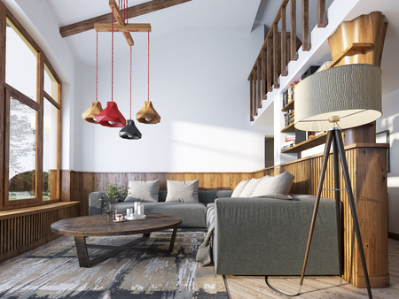 wood room: Modern living room in a loft style. Living room with corner sofa and wall with wood paneling and large windows. The original chandelier with shades of different colors. 3D render.