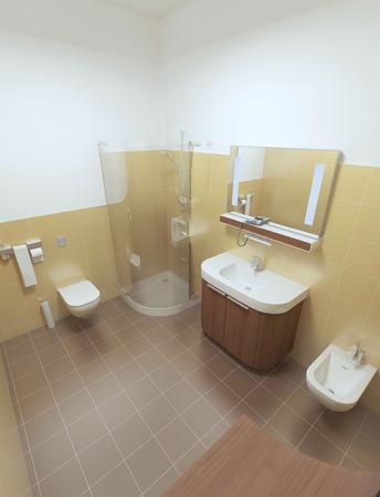 ceramica: Cuarto de baño interior en el estilo contemporáneo. Cuarto de baño interior con azulejos marrones y amarillas en las paredes y el techo blanco. Muebles de madera de color marrón. render 3D.