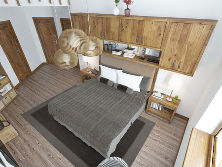 bedroom bed: Large bright bedroom in the loft. Above the bed hang shelves closed and bedside tables with decorations. Furniture in rustic style. 3D render.