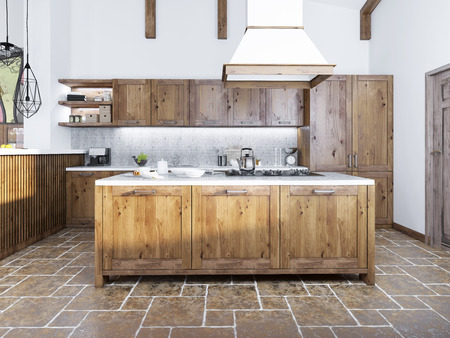 kitchen island: Modern kitchen in the loft style. Kitchen island with a hood over it. Kitchen of fashion solid wood. 3D render.
