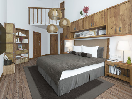 bedroom furniture: Luxury bedroom in a modern style. Furniture for a bedroom in a rustic style. 3D render. Stock Photo