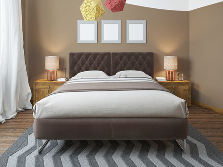 second floor: Luxury bright bedroom in the loft. The bedroom brown walls and white ceiling. Quilted headboard and above him three paintings in mockup poster style. The brown wooden floor and gray striped carpet. At the second level balcony. 3D render