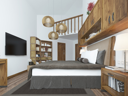 wall decoration: Large bedroom in modern style with elements of a rustic loft. Interesting solution with shelves above the bed and a balcony on the second level with wooden railings. 3D render. Stock Photo