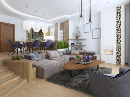 modern apartment: Modern living room in a loft style, blending smoothly into the kitchen dining room. Large corner sofa, shelves with decorations, soft chair with a floor lamp and a big high fireplace with firewood. 3D render