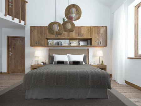 frontal view: Frontal view of the bed in the bedroom in the loft. Furniture is rustic shades. Chandeliers hang from the ceiling above the bed and shelves. 3D render.