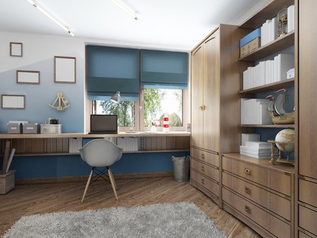 Large clothing closet with shelves for decorations and items and a work desk in the children's room. Children's room in the maritime modern style. 3D render