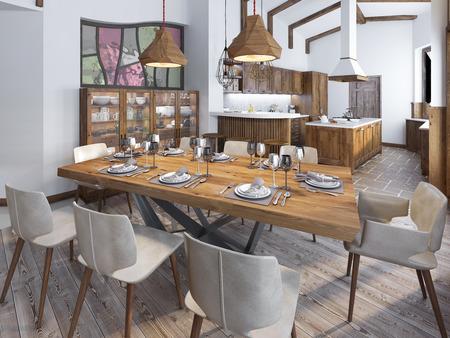 Moderne Küche und Esszimmer auf dem Dachboden. Küchenmöbel aus Massivholz. Hohe Decken mit sichtbaren Balken. Keramische Fliesen und Platten auf dem Boden. Serving Schön Tabelle. 3D übertragen.