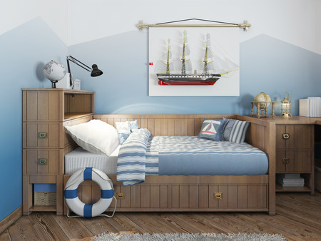 cor: Baby bed for a young teenager in a ship style with a lifeline and nautical décor. Modern interior of a childs room in a nautical theme. 3D render. Stock Photo