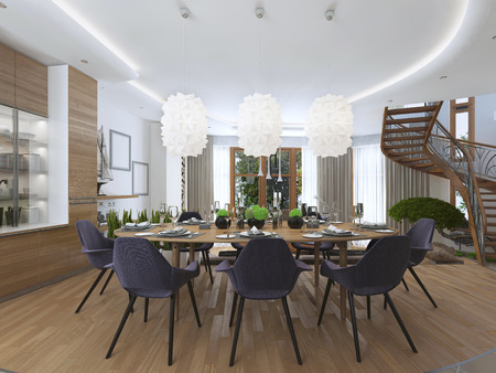large: Luxury dining room in a contemporary style with a large dining table for eight people. Luxury white chandelier hanging over the table of opaque plastic. 3D render.