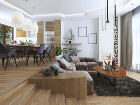 contemporary living room: Studio apartment with living room and dining room in a contemporary style. Large sofa with designer coffee low table and decoration on the shelves. Dining in an elevated podium. 3D render.