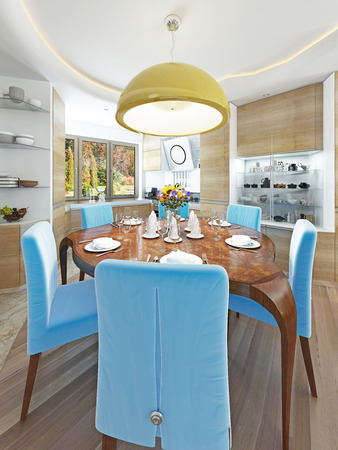 round chairs: Modern dining room with kitchen in a trendy style kitsch. Round dining table with comfortable blue chairs. And a big yellow chandelier over the table. 3D render.