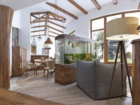 로프트 스타일의 수족관이있는 거실로 복도에서 봅니다. 거실에있는 의자와 플로어 램프가있는 대형 수족관. 천장에 나무 광선입니다. 3D 렌더링합니 스톡 콘텐츠