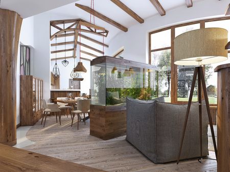 View from the hallway into the living room with an aquarium in the loft style. A large aquarium with a chair and a floor lamp in the living room. Wooden beams on the ceiling. 3D render. Archivio Fotografico