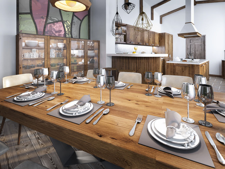 built: Modern dining room built into the kitchen space. Large dining wooden table for eight people. 3D render.