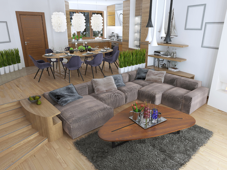 sideboard: The room is a studio with kitchen and dining area and a living room on the lower level in the Contemporary style. Sideboard with utensils and decorations on the shelves. 3D render.