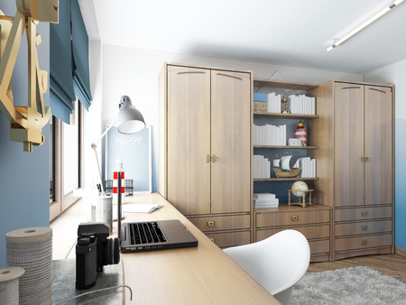 kids dress: Large clothing closet with shelves for decorations and items and a work desk in the childrens room. Childrens room in the maritime modern style. 3D render