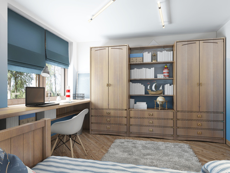 Large clothing closet with shelves for decorations and items and a work desk in the childrens room. Childrens room in the maritime modern style. 3D render