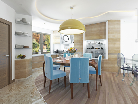 kitsch: Modern dining room with kitchen in a trendy style kitsch. Round dining table with comfortable blue chairs. And a big yellow chandelier over the table. 3D render.