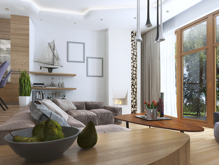 wood room: Side table with a plate groove in the modern living room. 3D render.