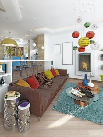 #60566049   Luxus Großes Wohnzimmer Im Stil Des Kitsches. Moderne Wohnzimmer  Mit Großen Leder, Braun Sofa Mit Bunten Kissen Und Zwei Grüne Stühle Mit  Einem ...