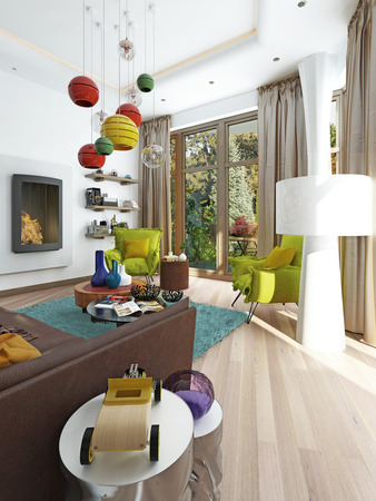 kitsch: Luxury large living room in the style of kitsch. Contemporary living room with large leather, brown sofa with colorful pillows and two green chairs with a fireplace. 3D render. Stock Photo