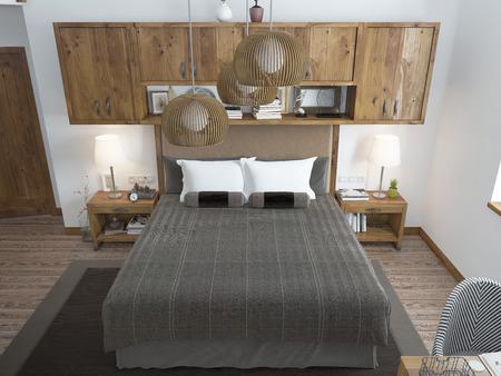 #60566402   Große, Helle Schlafzimmer Im Dachgeschoss. Über Dem Bett Hängen  Regale Geschlossen Und Nachttische Mit Dekorationen. Möbel Im Rustikalen  Stil.