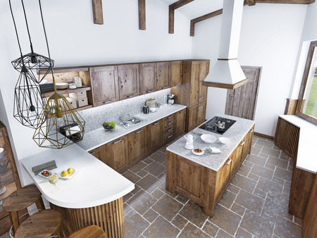 duplex: Modern luxury kitchen in a loft style. The design of a large kitchen with an array of light wood. 3D render.