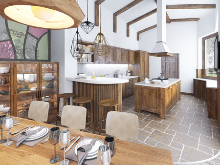 beam: Modern kitchen and dining room in the loft. Kitchen furniture made of solid wood. High ceilings with exposed beams. Ceramic tiles on the floor. Beautifully Serving Table. 3D render.