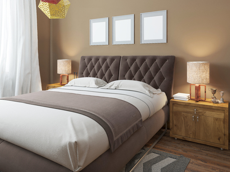 double bed: Luxury large modern double bed in the bedroom loft style. Bed linen in white and brown colors. Above the bed three mockup. On the sides are two bedside tables with lamps. 3D render.