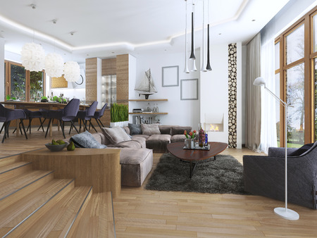 contemporary living room: The room is a studio with kitchen and dining area and a living room on the lower level in the Contemporary style. Sideboard with utensils and decorations on the shelves. 3D render.