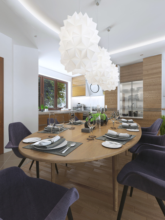 Dining kitchen design in a modern style with a dining table and kitchen furniture wooden