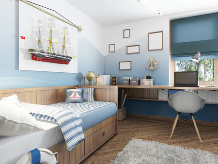 marine ship: Childrens room in the marine style. Bed and table in the childrens room for a teenager with the decor. A large model of a ship on the wall. 3D render.