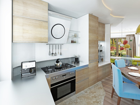 six persons: Modern kitchen dining room in the style of kitsch. Kitchen with light wood dining table for six persons. 3D render.