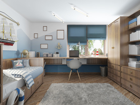 Modern childrens room for a teenager in a nautical style with furniture decoration under the captains cabin. 3D render.