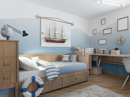 Baby bed for a young teenager in a ship style with a lifeline and nautical d? ? cor. Modern interior of a childs room in a nautical theme. 3D render. Stock Photo