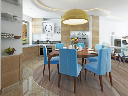 modern dining room: Modern dining room with kitchen in a trendy style kitsch. Round dining table with comfortable blue chairs. And a big yellow chandelier over the table. 3D render.