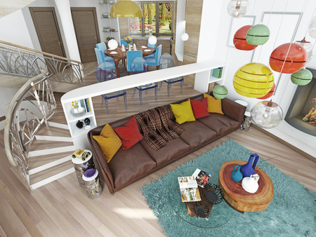 Luxury large living room in the style of kitsch. Contemporary living room with large leather, brown sofa with colorful pillows and two green chairs with a fireplace. 3D render. Stockfoto