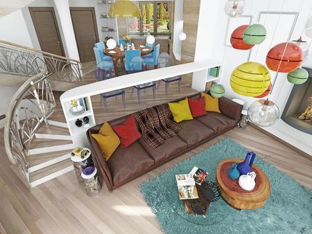 Luxus großes Wohnzimmer im Stil des Kitsches. Moderne Wohnzimmer mit großen Leder, braun Sofa mit bunten Kissen und zwei grüne Stühle mit einem Kamin. 3D übertragen. Standard-Bild - 60566626