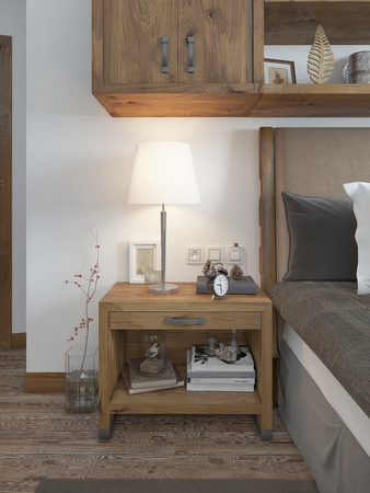 night table: Wooden bedside table with a niche for the decor. Bedside table with lamp and books beside the bed. A bed in a rustic style. 3D render.