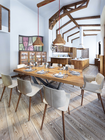 Dining room with a modern country-style kitchen. Serving a wooden table for eight people. 3D render.