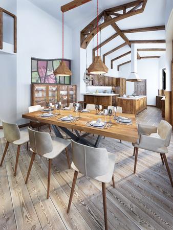 Salle à manger avec une cuisine de style campagnard moderne. Au service d'une table en bois pour huit personnes. Rendu 3D. Banque d'images - 60566629