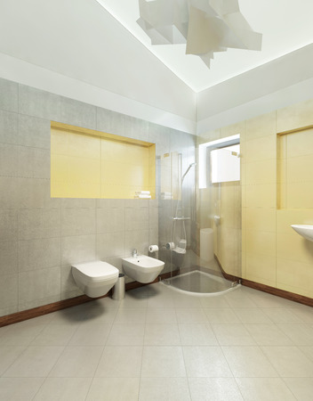 yellow walls: Bathroom in Contemporary style. Bathroom with gray and yellow tiles on the walls of a shower cubicle, wash basin, toilet and bidet. 3D render. Stock Photo